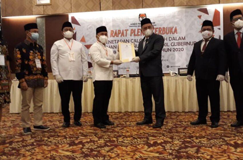 KPU Kalteng Tetapkan Sugianto – Edy Menangi Pilgub Kalteng